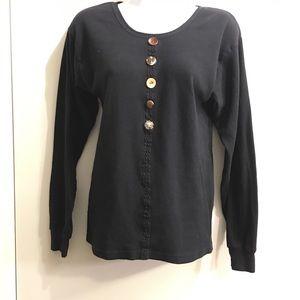 HEAD OVER HEELS black sweater, brown buttons